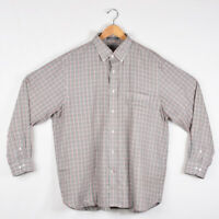 Men's Daniel Cremieux Long Sleeve Dress Shirt Gray Red White Plaid - Size XL