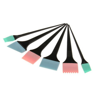 6pc Silicone Hair Dye Tint Coloring Highlights Brush Set Mask Applicator Kit