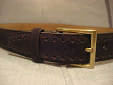 COLE HAAN 32MM STITCHED FEATHER PERFORATED LEATHER DARK BROWN BELT SIZE 36 - NEW