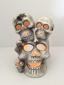 Halloween Stacked Skulls Ceramic Tea Light Votive Candle Holder Scary Decoration