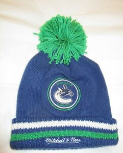 NHL Vancouver Canucks Knit Hat Pom Mitchell & Ness Cuffed Stocking Beanie Cap