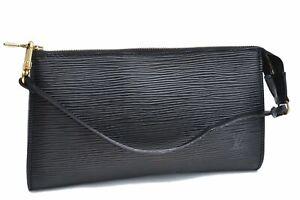 Authentic Louis Vuitton Epi Pochette Accessoires Pouch Black LV A4462