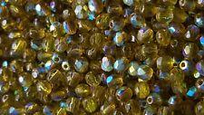 Glasschliffperlen 4mm Oliv transp. AB 150 Stück