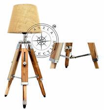 Vintage Industrial Style Natural Teak Wood Finish Tripod Table Lamp Shade Light
