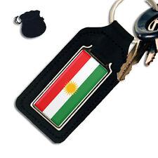 KURDISTAN FLAG OBLONG LEATHER KEYRING / KEYFOB