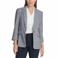 DKNY Women's Black/white Marled-knit One-button Lined Blazer Jacket Top 16 TEDO