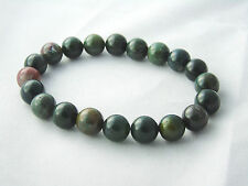 India Bloodstone Bracelet Natural Quartz Crystal Healing Stone 10mm Bead Unisex
