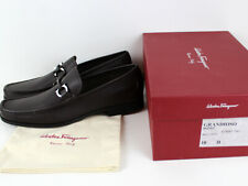 FERRAGAMO MENS GRANDIOSO HICKORY CALF LEATHER LOAFER SHOES SIZE 10