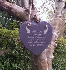 Slate Heart Memorial Marker Personalised Miss You Mum Laser Engraved