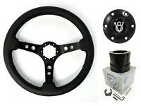 3 Spoke Black Steering Wheel w/ V8 Horn Button & Adapter For 1964-1972 Ford