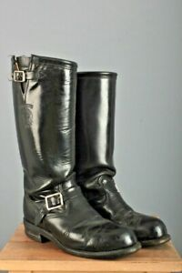 Men's Tall Chippewa Steel Toe Black Engineer Motorcycle Boots Sz 9 D