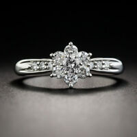 Flower Rings for Women Wedding Ring 925 Silver Jewelry White Sapphire Size 6-10