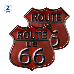 2-Pack Rusty Highway Route 66 Metal Sign US Made Vintage Rustic Garage Man Cave