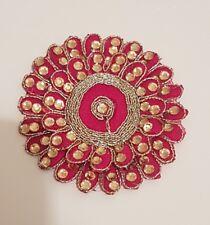 APPLIQUE con finiture in pizzo rosa Matrimonio Indiano Costume Da Ballo Cristallo Fiore asiatici Patch
