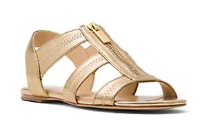 EUC MICHAEL KORS 9 Berkley Flat Sandals Gold Zipper T Strap Leather