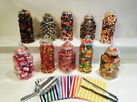 10 x 1L MIXED Vintage Sweet jars, scoop, tong, 100 bags Candy Buffet Wedding