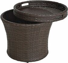 Wicker Umbrella Side Bistro Table, All-Weather Patio Storage Box