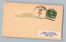 College Alaska AK 1949 4-Bar Cancel Postmark Postcard DPO