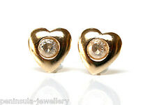 9ct Gold Heart Small CZ Studs earrings Gift Boxed Made in UK