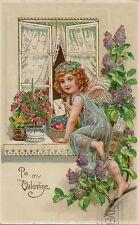 CARTE POSTALE GAUFREE FANTAISIE TO MY VALENTINE ANGE ANGEL FLEUR FLOWER
