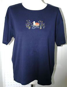 Embroidered Duck T-Shirt - Clever Shepherd of San Francisco Size M (14-18)