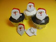 12 Santa Claus Cupcake Rings Christmas Toppers Cake Pop Decorations Party Favors