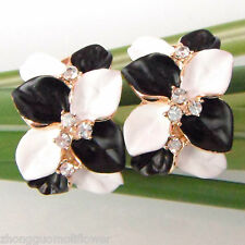 Navachi White BlacK  Enamel Leaves 18K GP Crystal Buckle Earrings BH1141