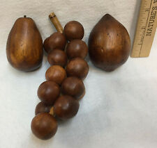 Wooden Fruit Grape Cluster Pear Lemon Shiny Brown Stain Lot of 3