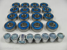16 x ABEC 11 SCOOTER BEARINGS + 8 BEARING SPACERS *NEW* BLUE SHIELDS