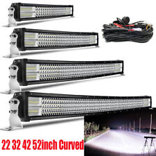 22'' 32'' 42'' 52''Curved Quad Row LED WORK LIGHT BAR FLOOD SPOT COMBO OFF-ROAD