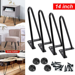 4x Black Hairpin Legs Set for Furniture Bench Desk Table Metal Steel 14 Inches