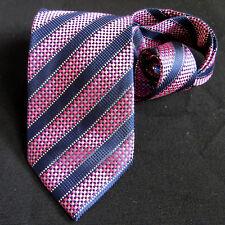 Luxury Chereskin Silver Threaded Checkerboard Striped Microfiber Tie Blue Pink