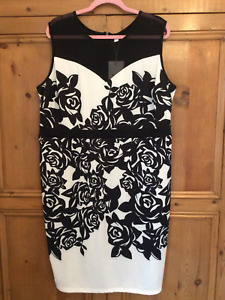 Nextmia Plus Size 20 Black Ivory Floral Print Sleeveless Shift DRESS Stretchy