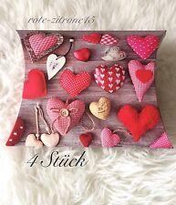 4x Große Geschenkbox Pillow Box Schachtel  Geschenk Verpackung Geburtstag Herz