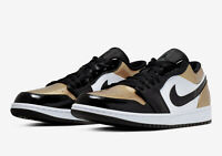 Nike Air Jordan 1 Retro Low Gold Toe Metallic Gold White Black CQ9447-700 4Y-13