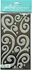 SILVER PUFFY FLOURISH WITH GEMS Jolee's Boutique 3-D Ornate Stickers