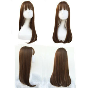 """22"""" Synthetic Hair Hairpiece Clip in Hair Topper Mono Toupee with Bangs US Ship"""