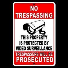 No Trespassing Property Protected Video Surveillance Security Camera Sign Metal