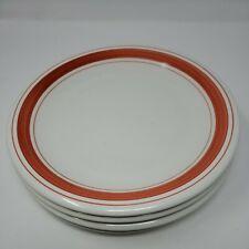 La Primula Red Orange Band Stripes Dinner Plates Roma Inc Made in Italy