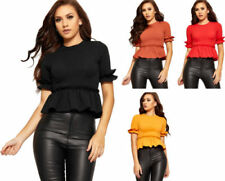 Short Sleeve Casual Tops & Blouses for Women with Ruffle