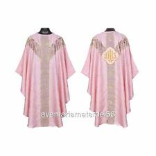 Rose IHS Gothic Chasuble Set Lined+Stole, Maniple, Chalice Veil, Burse