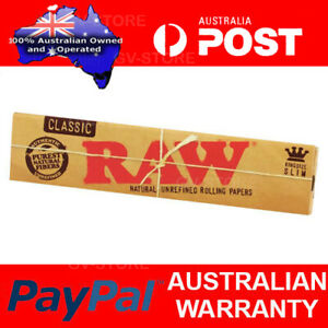4x RAW Kingsize Slim Classic Natural Unrefined Cigarette Papers Smoking Tobacco