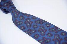 "Liberty Of London Paisley Neat Repp Stripe Silk Blue Red Men's Tie USA 3.5"""