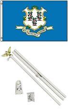 2x3 2'x3' State of Connecticut Flag White Pole Kit Set
