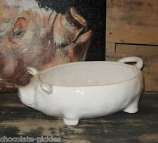 White PIG Casserole/Bread/Fruit BOWL~Primitive/French Country Farmhouse Decor