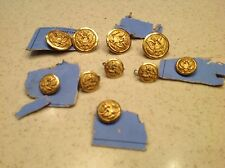 Vintage Military Army Gold Eagle Buttons 2 sizes Set of 10 Look New Intact