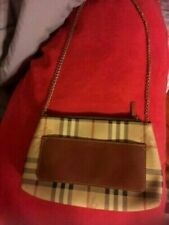 100%Auth Burberry Haymarket Check Horseferry Clutch Crossbody Bag Purse Handbag