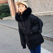 Womens Outwear Parka Fake Fur Hooded Oversize Long Coats Winter Down Loose Plus