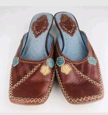 Women Indigo Clarks Brown Floral Leather Slip On Shoes 6.5 Medium NWOB