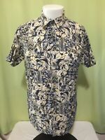 Tori Richard Men's Beige Floral Hawaiian Shirt Size Small Cotton Lawn